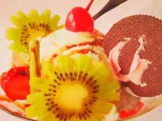 美味的水果冰淇淋