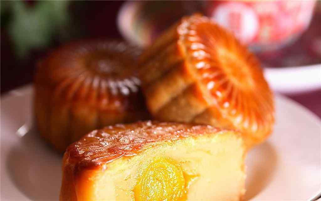 中秋节美食之蛋黄月饼桌面壁纸