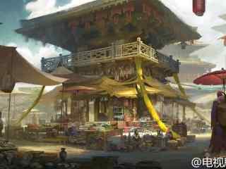 九州海上牧云记场景图设计天启城街道桌面壁纸