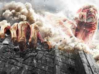 进击的巨人真人电影版超大型巨人破坏城墙桌面壁纸