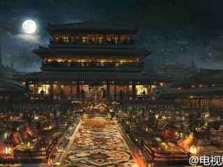 九州海上牧云记场景图设计夜宴阁桌面壁纸