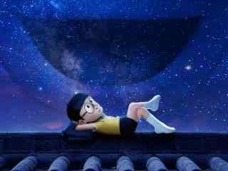 《哆来A梦:伴我同行》大雄仰望夜晚星空影视高清壁纸