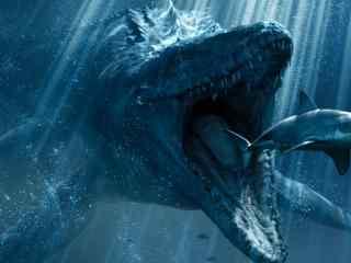 侏罗纪世界2沧龙进食高清壁纸
