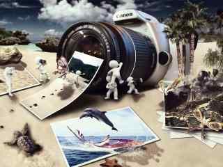 海边的照相机创意