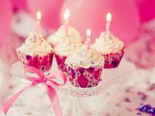 粉色浪漫生日蜡烛