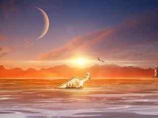 夕阳下唯美的漂流