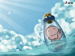 可爱的小破孩漂流瓶桌面壁纸