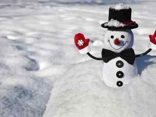 埋在雪地里的可爱小雪人玩偶桌面壁纸