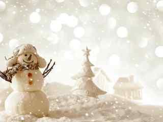 茫茫大雪中的可爱雪人玩偶桌面壁纸