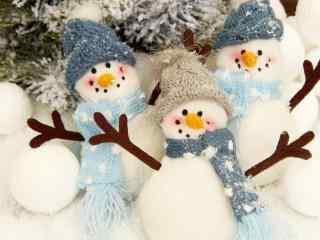 一群可爱的雪人玩偶桌面壁纸