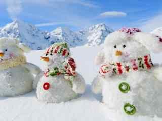 可爱的小雪人静物风景壁纸