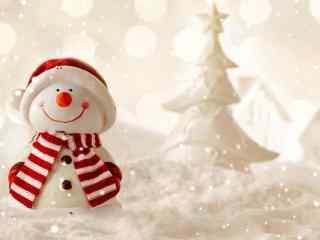 抬头看雪的雪人玩偶桌面壁纸