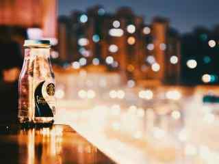 星巴克咖啡杯唯美街灯图片桌面壁纸