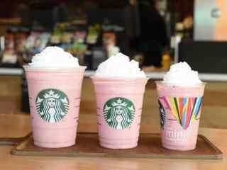 星巴克粉色杯子唯美图片高清桌面壁纸