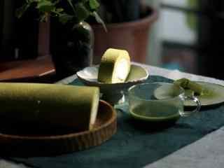 清新抹茶风味下午茶面包图片高清桌面壁纸