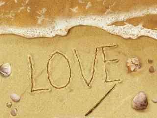 创意沙滩love贝壳桌面壁纸