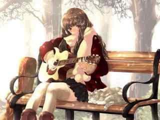 动漫少女弹奏吉他桌面壁纸
