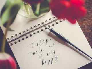 鲜花与手写信复古桌面背景