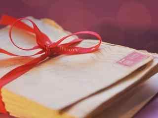 红丝带复古信封桌面壁纸