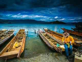 泸沽湖船舶写真桌