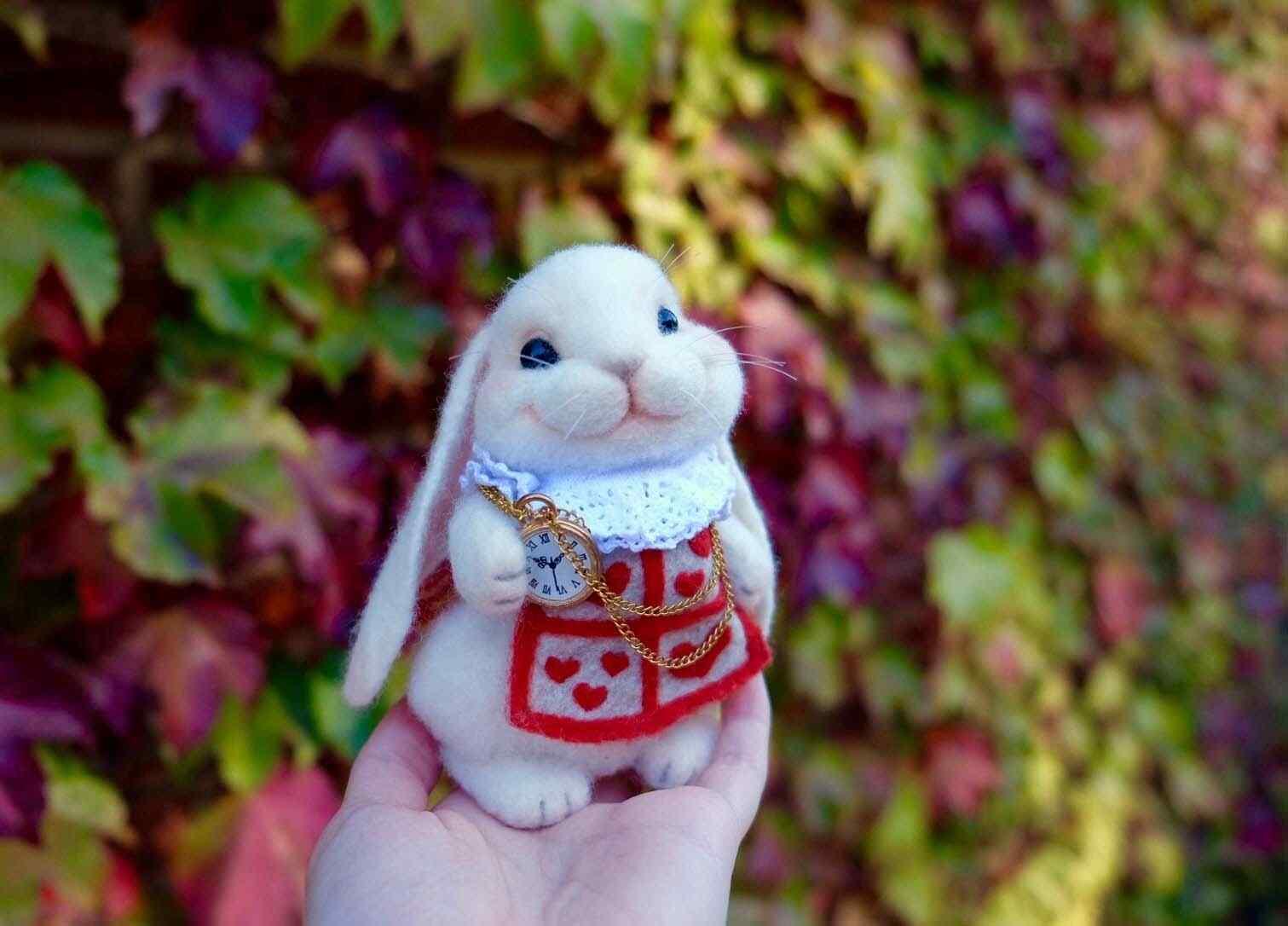 超级可爱的毛毡小兔子桌面壁纸