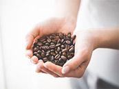手中的一捧咖啡豆