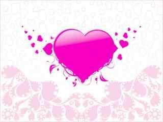 粉色可爱爱心桌面
