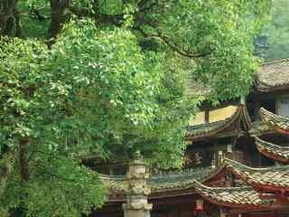 小清新峨眉山上的庙宇桌面壁纸