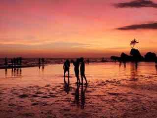 唯美的长滩岛夕阳风景壁纸