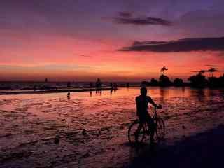 好看的长滩岛夕阳风景壁纸