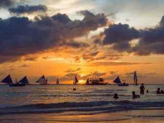 黄昏时的长滩岛唯美风景壁纸