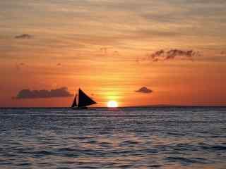 黄昏时的长滩岛风景壁纸