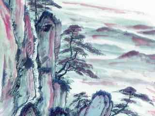 手绘山水迎客松壁纸