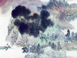 手绘国画山水人家壁纸