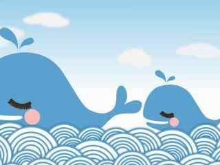 可爱手绘大小鲸鱼桌面壁纸