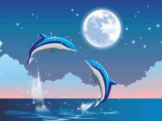 手绘小清新月下鲸鱼唯美桌面壁纸