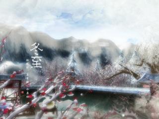 手绘二十四节气冬至桌面壁纸(3张)