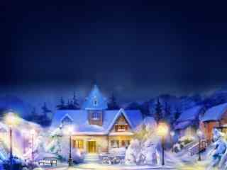 唯美的圣诞夜城市风景油画图