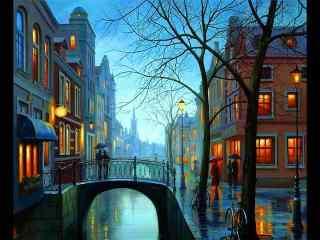 唯美的城市风景油画桌面壁纸