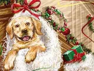 手绘可爱狗狗圣诞节节日图片高清壁纸