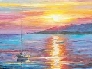 唯美落日风景油画桌面壁纸