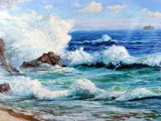 唯美风景油画之海边风景