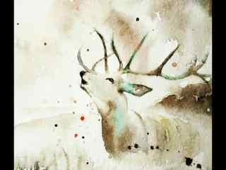 麋鹿韵味水墨画桌