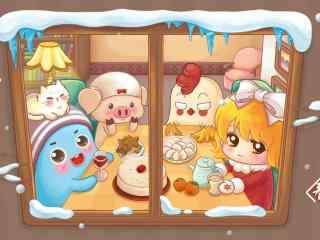 可爱的手绘过年吃饺子图片