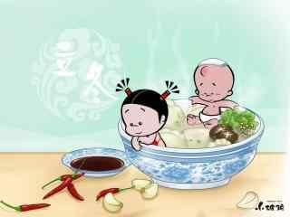 可爱小破孩过年吃饺子图片