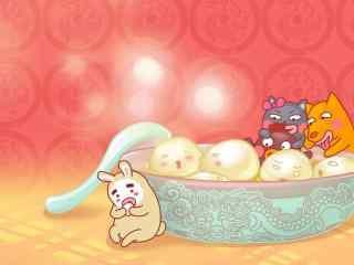 手绘可爱动物吃汤圆图片
