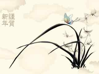 2017年新年-水墨兰花新年贺图