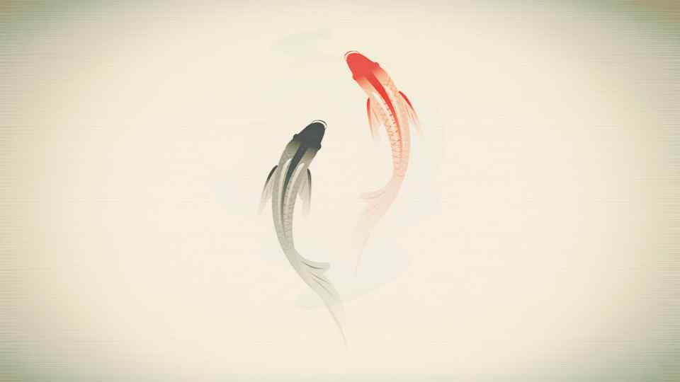 唯美水墨画手绘锦鲤桌面壁纸