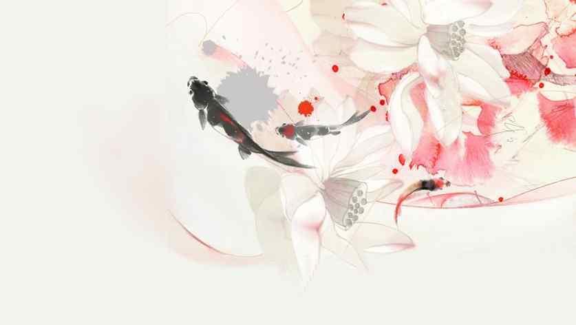 水墨画锦鲤图片壁纸