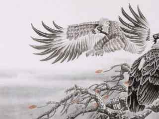 气势磅礴的老鹰国画图片